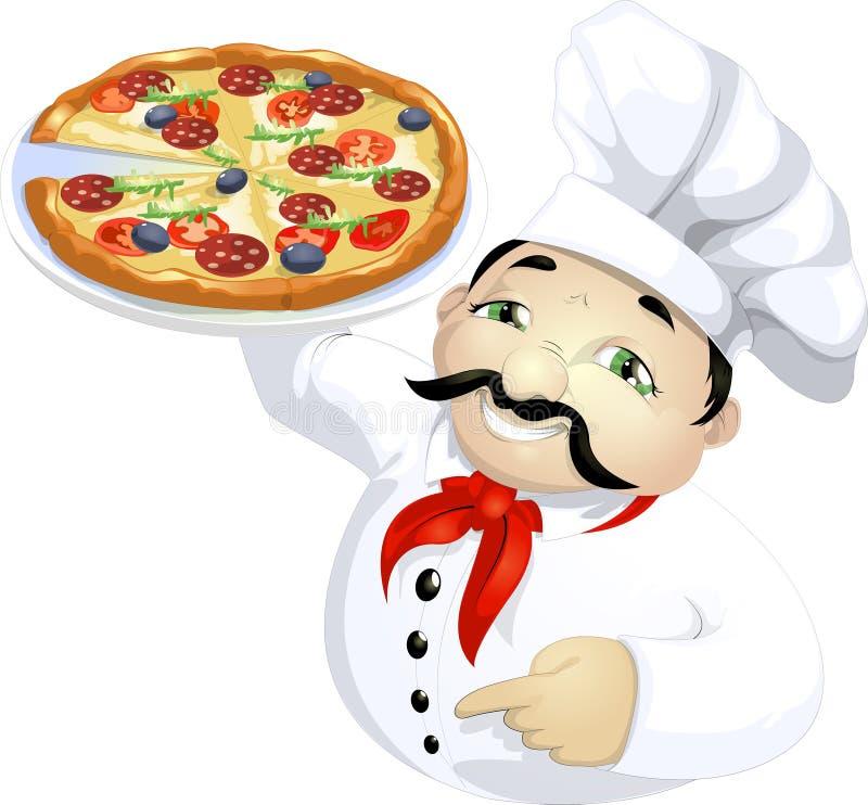 Mestre da pizza ilustração royalty free