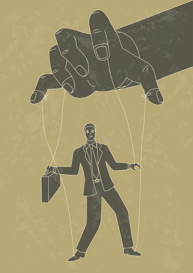 Mestre do fantoche que controla um homem de negócios ilustração royalty free