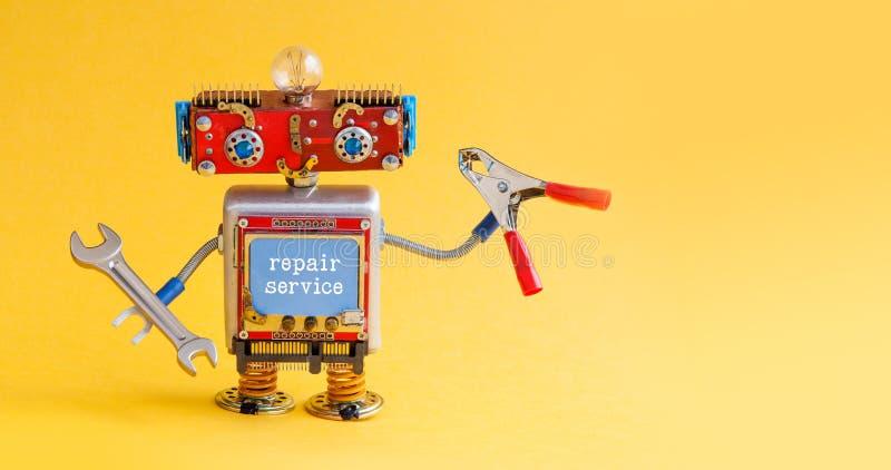 Mestre do trabalhador manual do robô do serviço de reparações com os alicates do vermelho da chave da mão Caráter criativo do bri fotografia de stock
