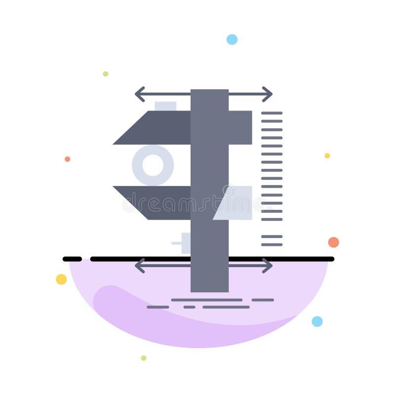 mesure, calibre, calibres, physique, vecteur plat d'icône de couleur de mesure illustration stock