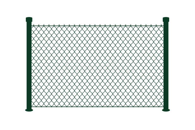 Mesure de grillage sur le fond blanc Frontière de construction de vecteur Illustration plate d'isolement Filet de sport, protecti illustration libre de droits