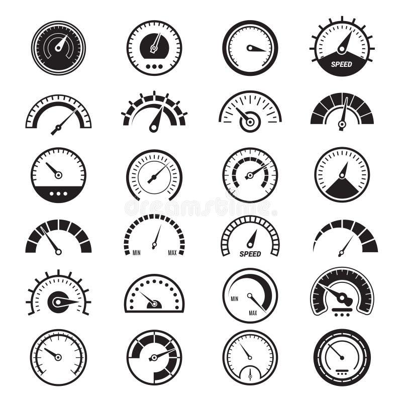Mesure de niveau infographic Signes de noir de vecteur d'indicateur de vitesse de limite de carburant de signe de tachymètre illustration libre de droits