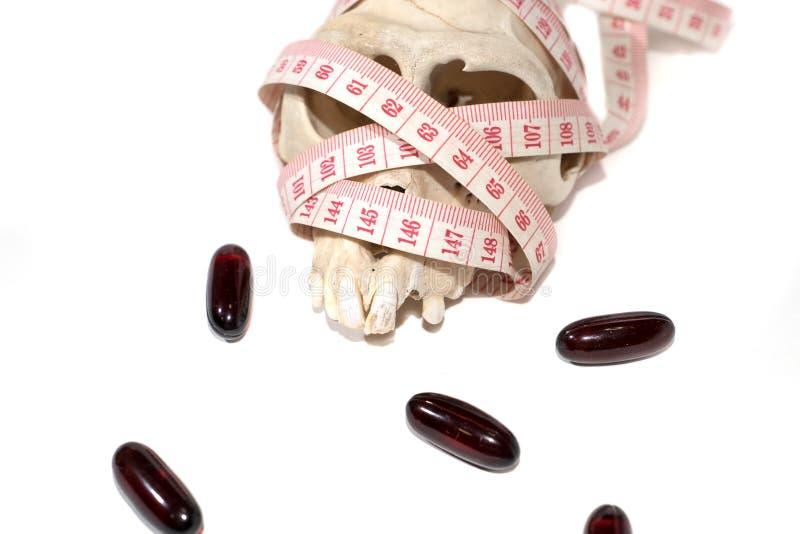 mesure de pilules, de crâne et de bande images libres de droits