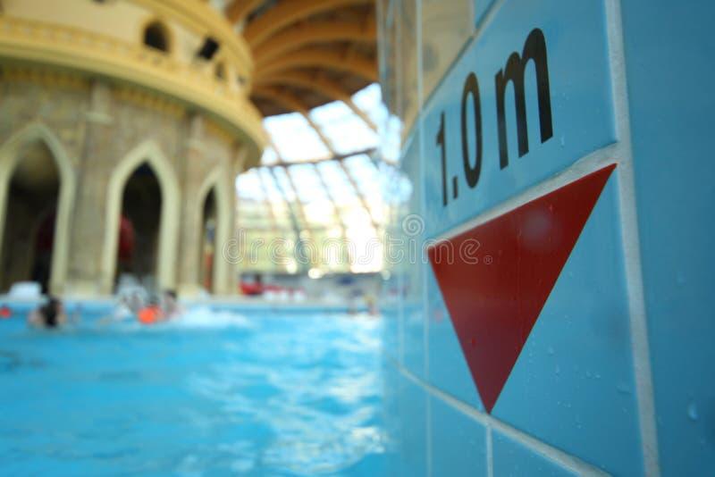 Mesure de profondeur dans la piscine au parc aquatique Caribia photos libres de droits