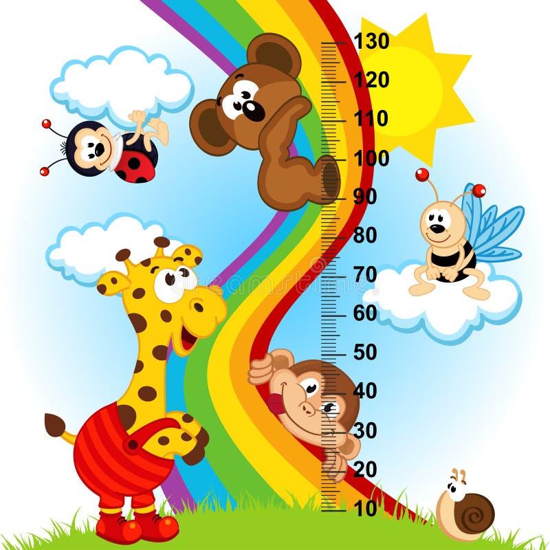 Mesure de taille de bébé (dans l'original proportionne 1 à 4) illustration de vecteur
