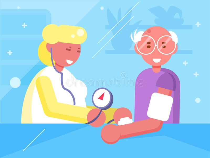 Mesure de tension artérielle au docteur Vector cartoon Art d'isolement illustration libre de droits