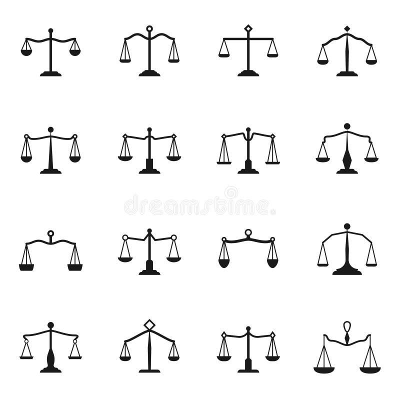 Mesure des icônes La Balance d'antiquité d'équilibre de vecteur a placé pour des signes de justice illustration libre de droits