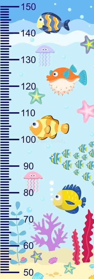 Mesures de croissance avec des poissons en mer illustration de vecteur, échelle 1 : 2 illustration de vecteur