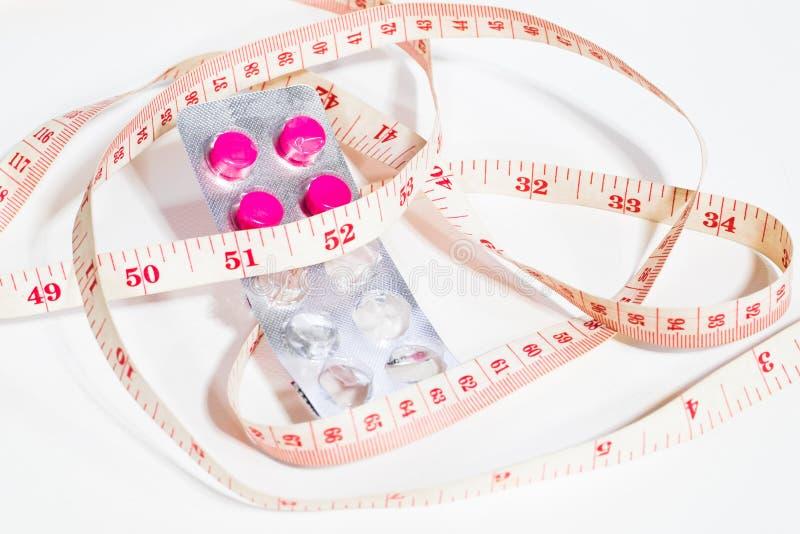 Mesurez la taille et les drogues de perte de poids photos stock