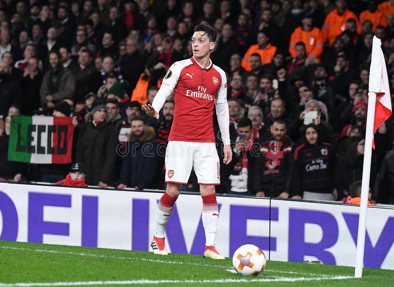 Mesut Ozil. Players pictured during the UEFA Europa League Round of 16 game between Arsenal FC and AC Milan held on March 15, 2018 at Emirates Stadium stock images