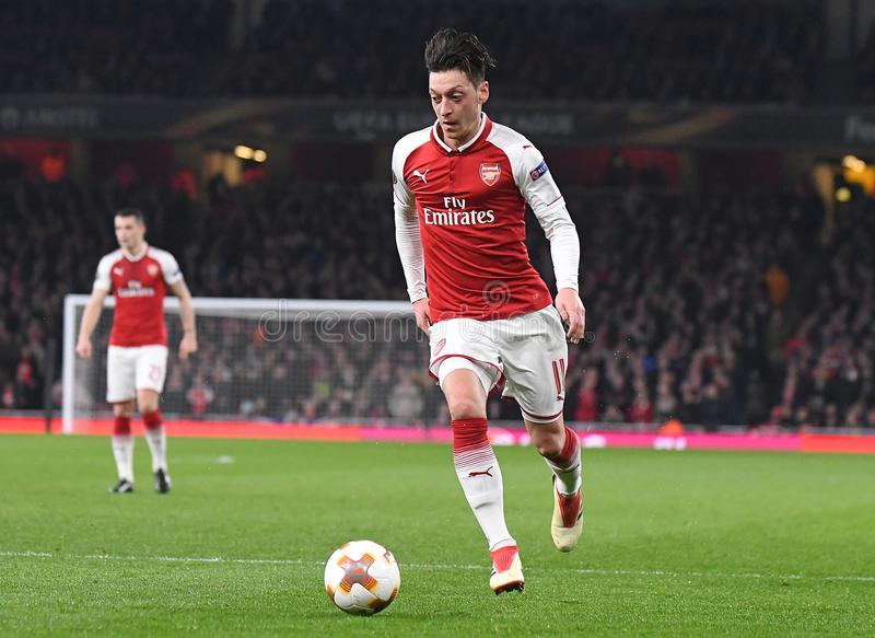 Mesut Ozil. Players pictured during the UEFA Europa League Round of 16 game between Arsenal FC and AC Milan held on March 15, 2018 at Emirates Stadium stock photo