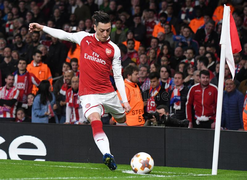 Mesut Ozil. Players pictured during the 2017/18 UEFA Europa League Semi-final 1st leg game between Arsenal FC and Atletico Madrid held on 26th of April 2018 stock photo