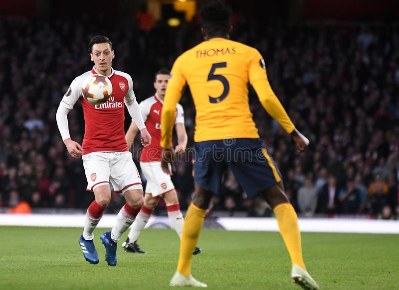Mesut Ozil. Players pictured during the 2017/18 UEFA Europa League Semi-final 1st leg game between Arsenal FC and Atletico Madrid held on 26th of April 2018 royalty free stock photo
