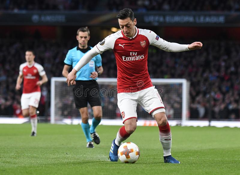 Mesut Ozil. Players pictured during the 2017/18 UEFA Europa League Semi-final 1st leg game between Arsenal FC and Atletico Madrid held on 26th of April 2018 royalty free stock photography