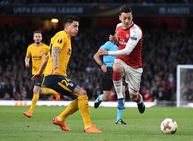 Mesut Ozil. Players pictured during the 2017/18 UEFA Europa League Semi-final 1st leg game between Arsenal FC and Atletico Madrid held on 26th of April 2018 stock images