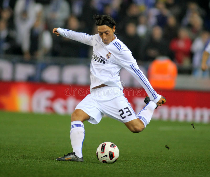 Mesut Ozil of Real Madrid. During a spanish league match between Espanyol and Real Madrid at the Estadi Cornella on February 13, 2011 in Barcelona, Spain stock images