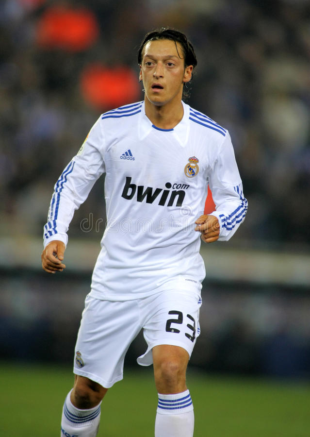 Mesut Ozil of Real Madrid. During a spanish league match between Espanyol and Real Madrid at the Estadi Cornella on February 13, 2011 in Barcelona, Spain royalty free stock photo