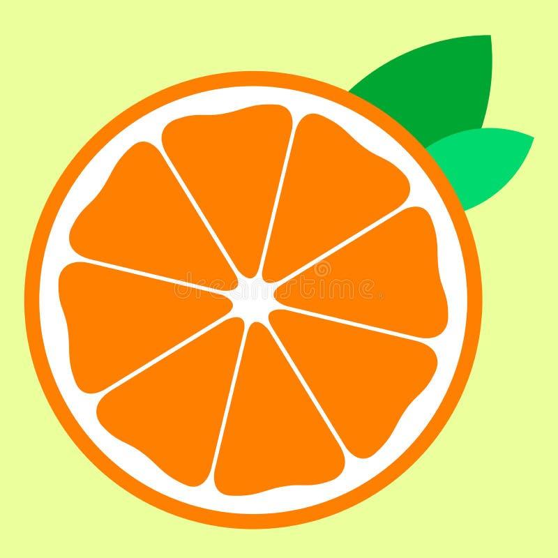 A metà arancio con la frutta dell'icona di due foglie illustrazione di stock
