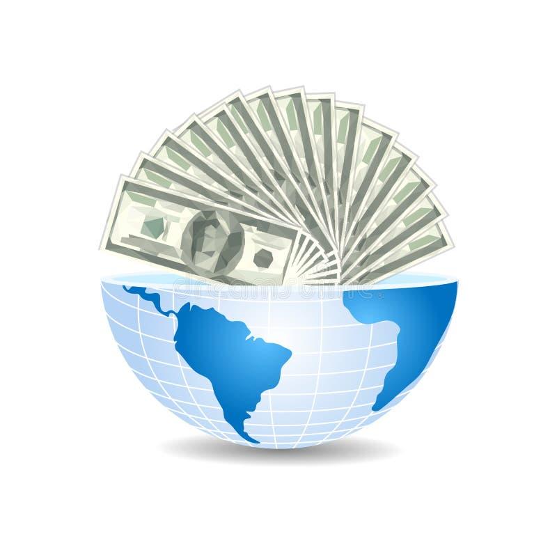 Metà del mondo all'interno in pieno dei soldi delle fatture dei dollari royalty illustrazione gratis