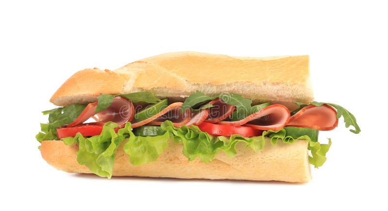 Metà del panino francese delle baguette. fotografia stock