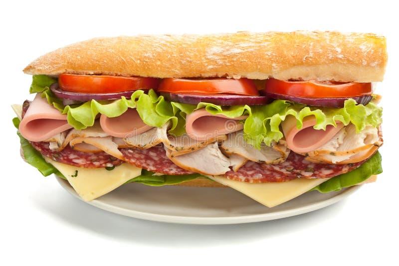 Metà del panino saporito lungo delle baguette del sottopassaggio fotografia stock libera da diritti