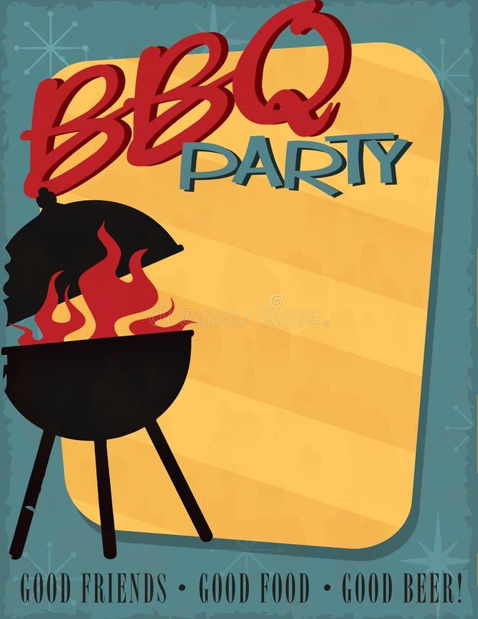 Metà del secolo dell'invito del partito del BBQ retro moderna royalty illustrazione gratis