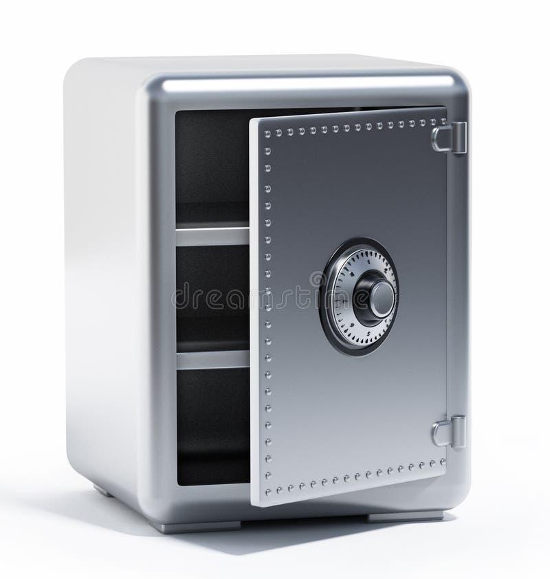 Metà della cassaforte d'acciaio vuota aperta illustrazione 3D illustrazione di stock