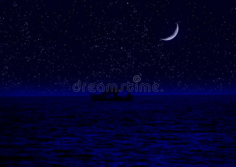 Metà della luna riflessa in acqua illustrazione di stock