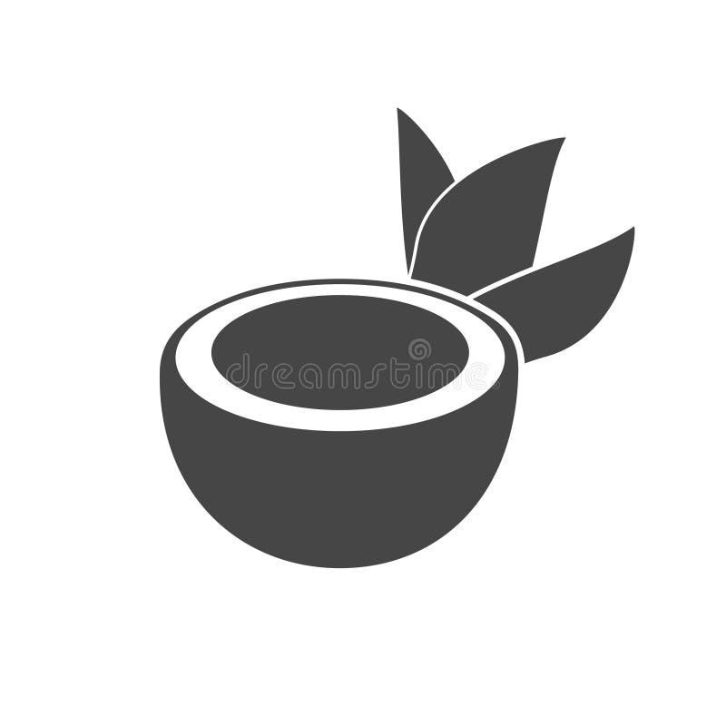 Metà della noce di cocco con l'icona delle foglie illustrazione di stock
