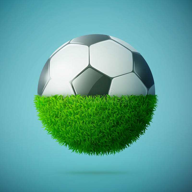 Metà della sfera dell'erba verde con il concetto del pallone da calcio illustrazione di stock
