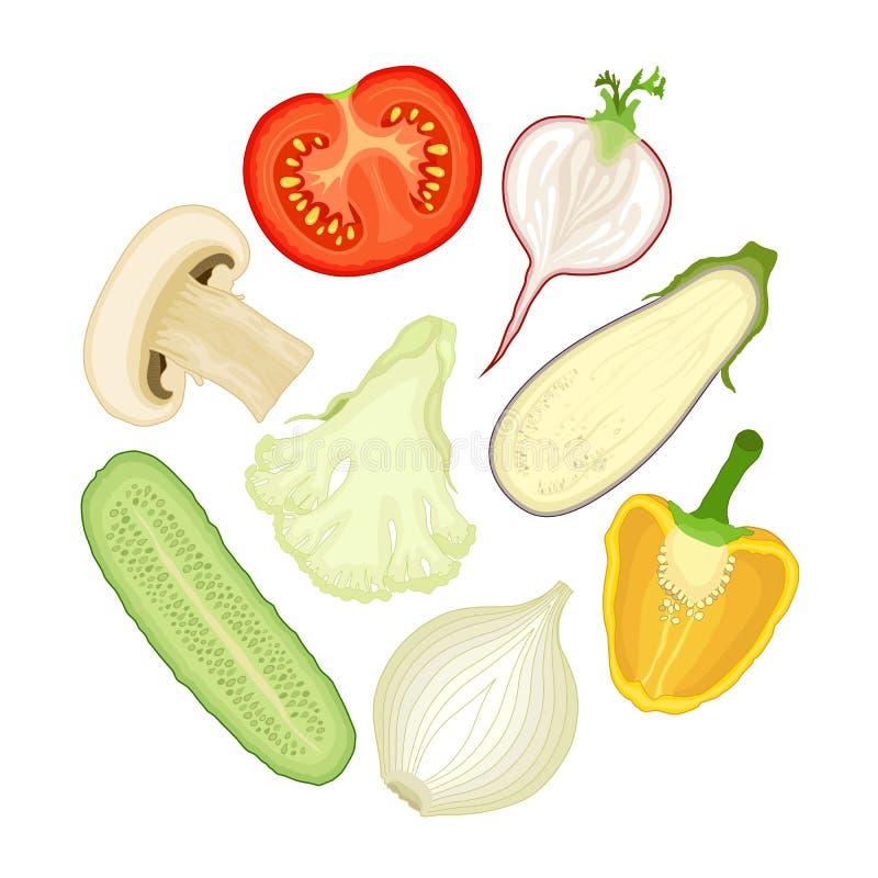 Metà delle verdure Insieme delle illustrazioni di vettore royalty illustrazione gratis