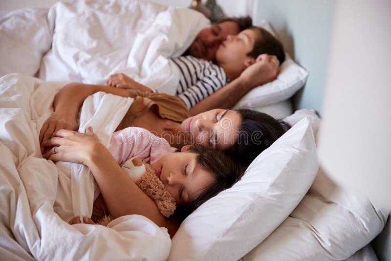 Metà di genitori adulti che dormono a letto con i loro due bambini piccoli, vita su, fine su fotografie stock libere da diritti