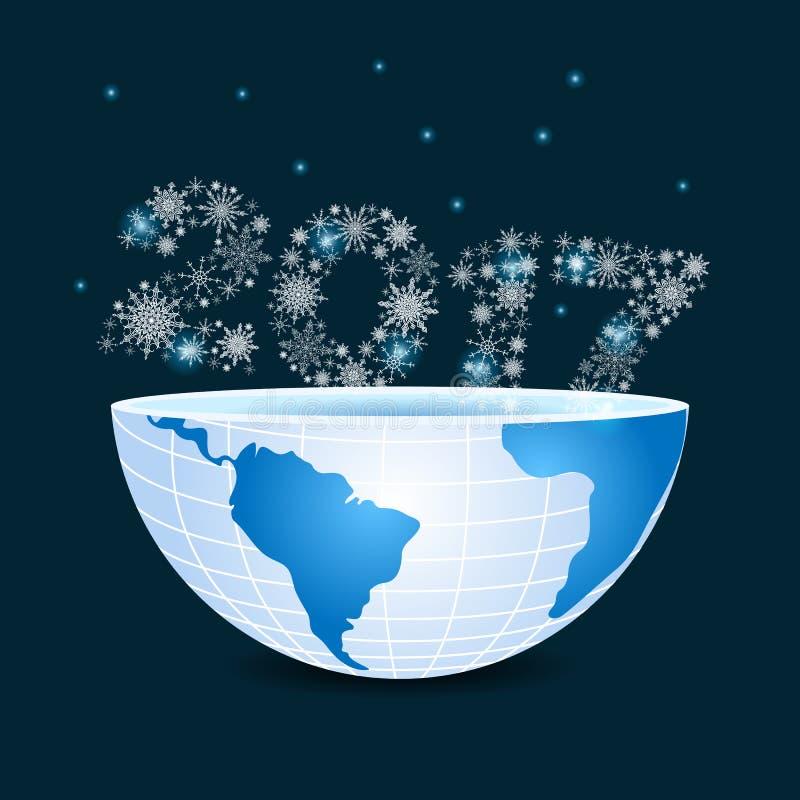 Metà di pianeta Terra con 2017 composti di Natale dei fiocchi di neve illustrazione vettoriale