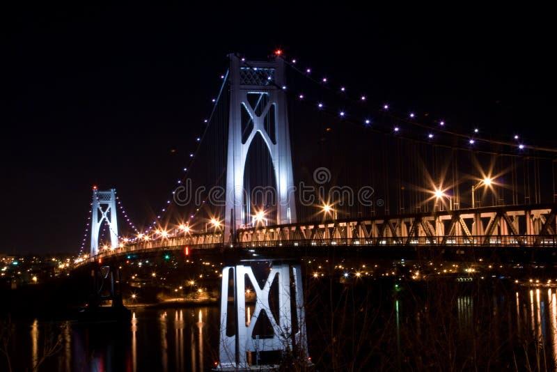 Metà di ponticello del Hudson alla notte immagini stock