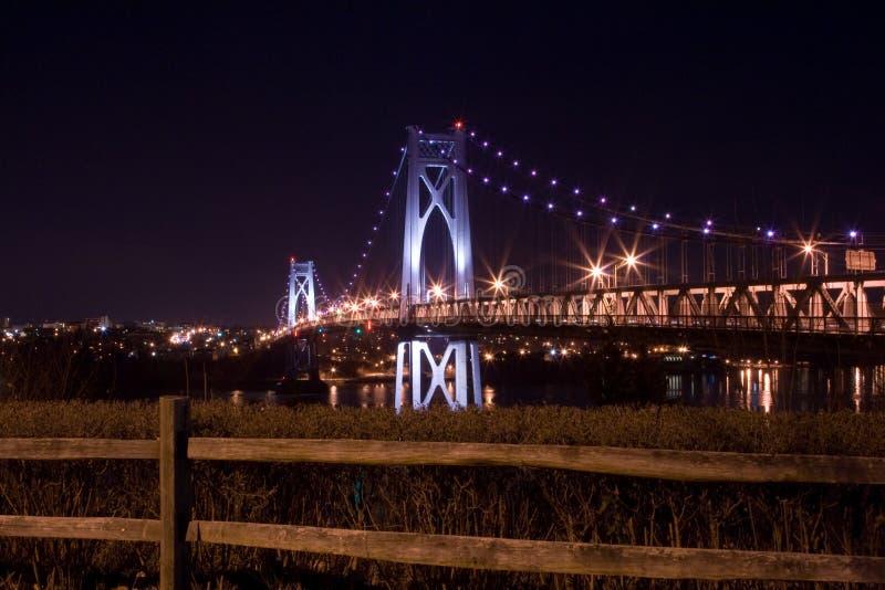 Metà di ponticello del Hudson alla notte fotografia stock