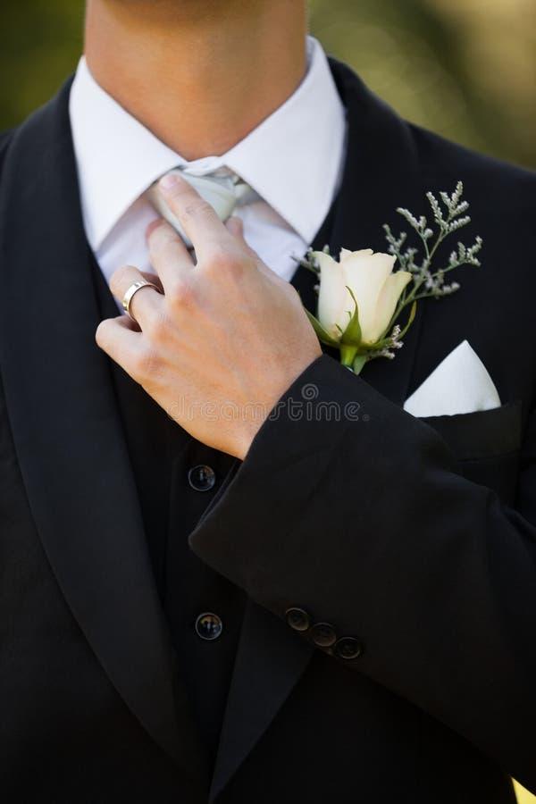 Metà di sezione dei fiori su risvolto del maschio fotografie stock