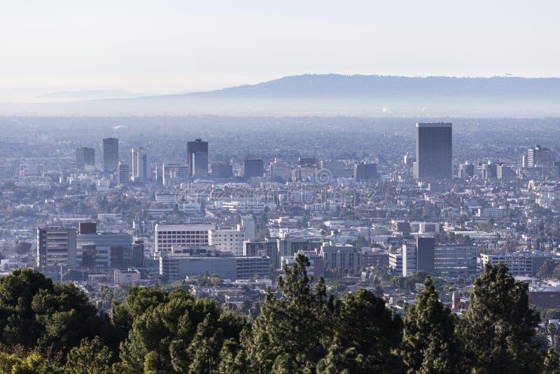 Metà di vista dell'orizzonte di mattina della città di Los Angeles fotografia stock