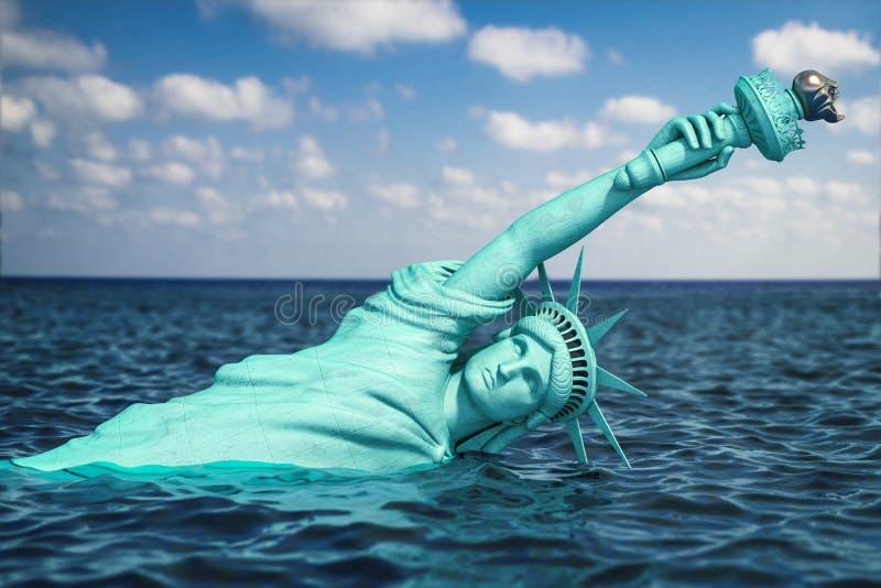 Metà distrutta della statua della libertà coperta dal livello aumentante dell'oceano Apocalisse di U.S.A., dell'America e della c illustrazione di stock