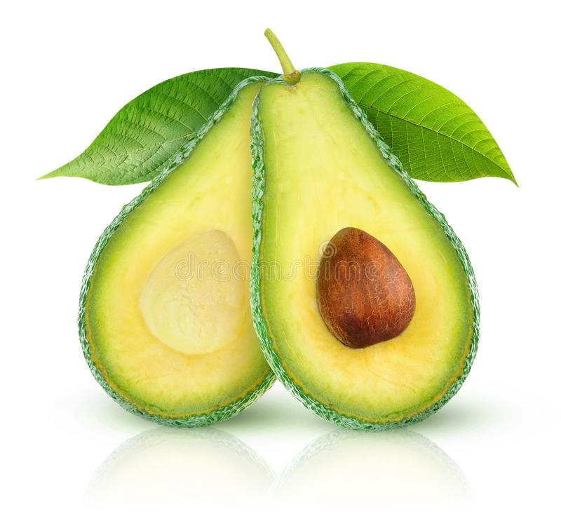 Metà isolate dell'avocado fotografie stock