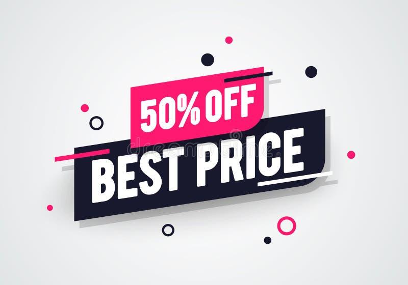 Metà prezzo moderna 50% dell'illustrazione di vettore migliore fuori dall'etichetta della pubblicità del negozio ora illustrazione di stock