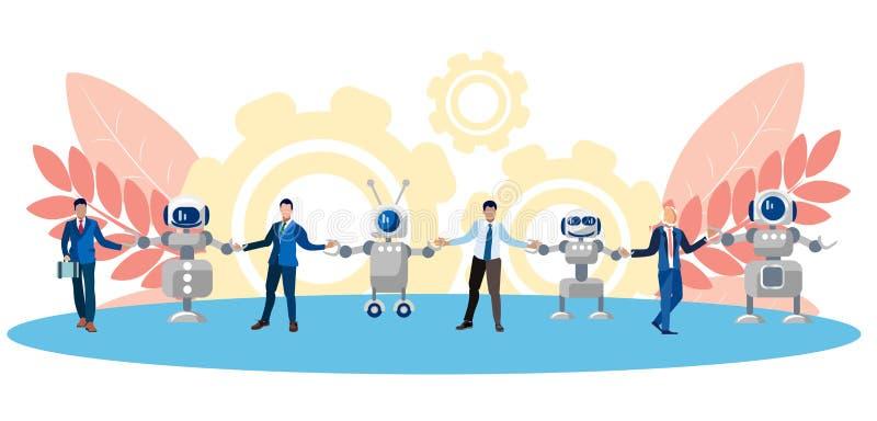 Metáfora da amizade, da cooperação dos povos e da tecnologia Corrente do ser humano e dos robôs No estilo minimalista liso ilustração stock