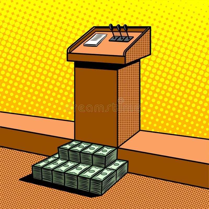 Metáfora da corrupção no vetor do pop art da política ilustração do vetor