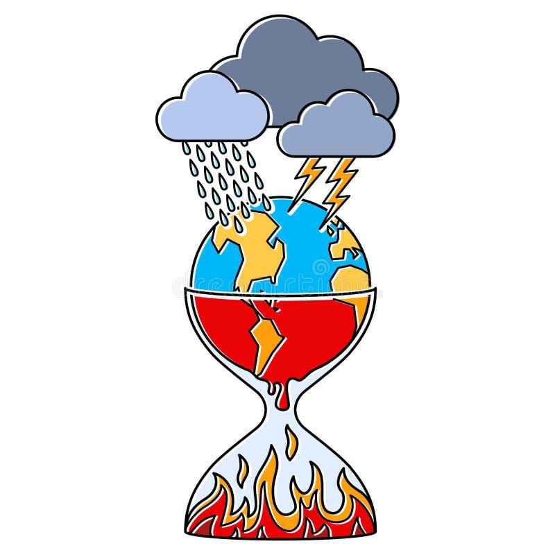 Metáfora da crise do clima, ampulheta, globo que derrete, desenhos animados da terra, linha arte, gráfico de vetor abstrato simpl ilustração royalty free