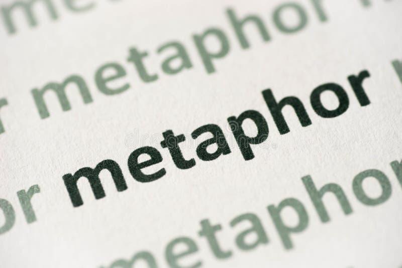 Metáfora de la palabra impresa en la macro de papel imagenes de archivo