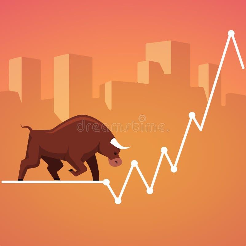 Metáfora de los toros del mercado de bolsa de acción stock de ilustración