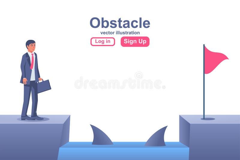 Metáfora de obstáculos do empresário A conquistar a adversidade ilustração royalty free
