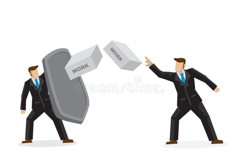 Metáfora de un hombre de negocios que lanza el suyo ladrillos del trabajo a su collea ilustración del vector