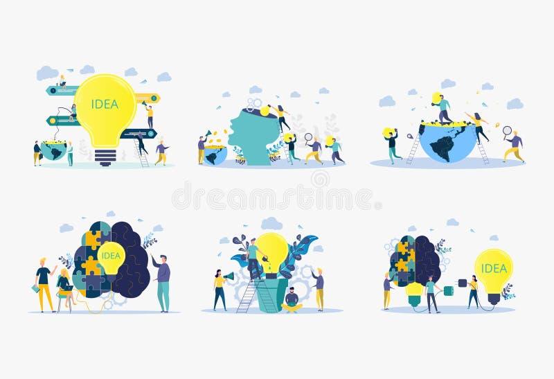 Metáfora do nascimento de uma ideia criativa de negócio análise de conceito de negócios Ilustração vetorial de pessoas cultivam p ilustração royalty free
