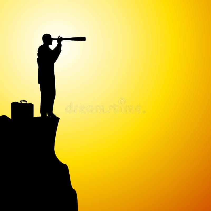 Metáfora do telescópio do homem de negócios ilustração do vetor