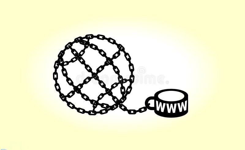Metáfora moderna, Internet do telefone e ícone social do apego das redes Ilustração à moda do conceito isolada no backgrou claro ilustração royalty free